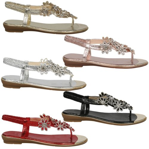 Tayla Womens Flats Diamante Floral Toe Post Flip Flop Sandals