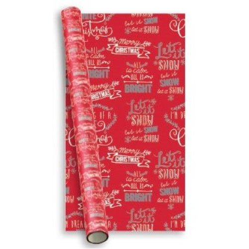 10m (2 x 5m) Modern Christmas Gift Wrapping Paper Roll - Red White & Silver Text