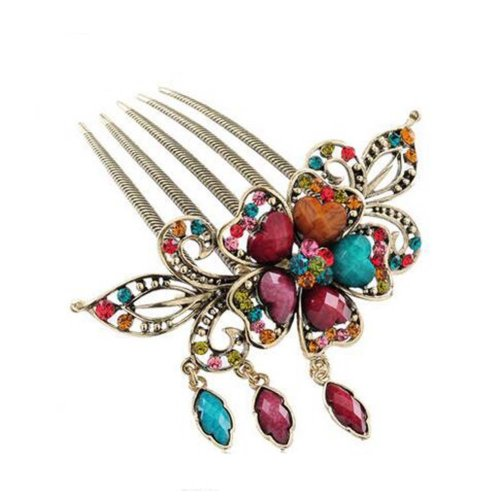 Classical Style Hair Comb Metal Pendant Rhinestones Hair Decoration, Colorful