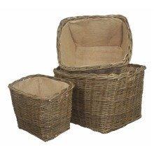 Heavy Duty Ash Woven Hessian Lined Rectangular Log Basket Set of 3
