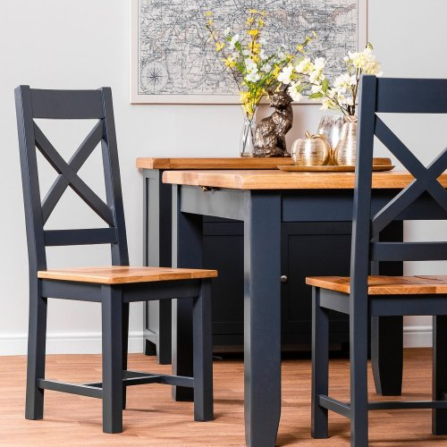 Hampshire Blue Painted Oak Cross Back Chair