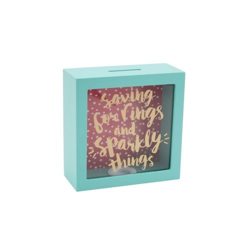 CGB Giftware Oh So Pretty Saving For Rings And Sparkly Things Wooden Money Box