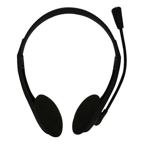 DYNAMODE Overhead Stereo Headset with Integrated Boom Microphone, 3.5mm Jack, Black (DM-N90)