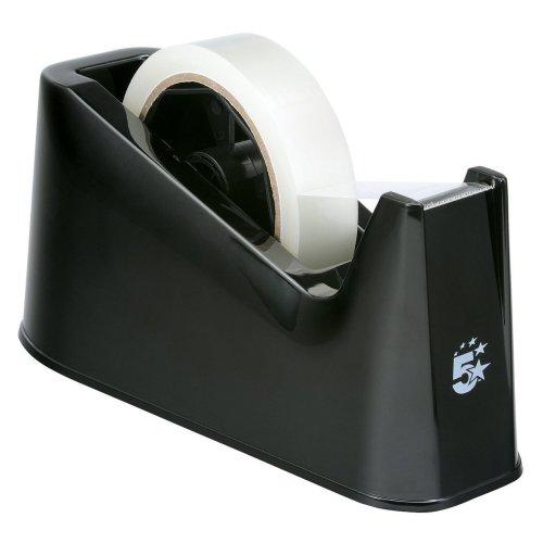 5 Star Tape Dispenser Desk Weighted Non-slip Capacity 25mm Width Black