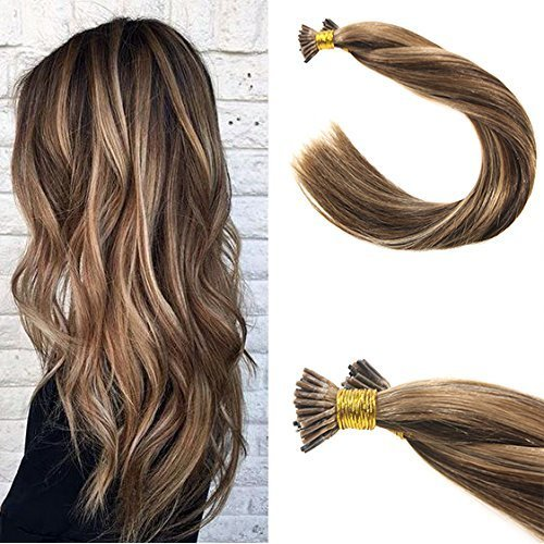 VeSunny 20inch I Tip Extensions Human Hair Color 4 Dark Brown Mixed 27 Caramel Blonde Stick Tip Human Hair Extensions 1gstrand 50Gram Per Pack