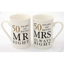 50th Golden Wedding Anniversary Gift - Pair Of Mugs WG67750