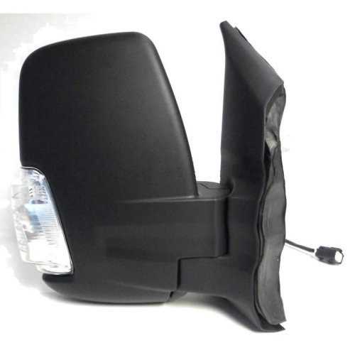 Ford Transit Mk8 (2014 On) Black Electric Short Arm Wing Door Mirror Drivers Side