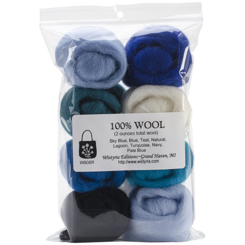 """Wistyria Editions Wool Roving 12"""" .25oz 8/Pkg-The Sea"""