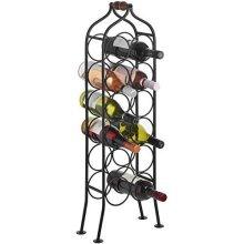 12 Bottle Wrought Iron Wine Rack -  12 bottle wrought iron standing black wine rack holder handle hill