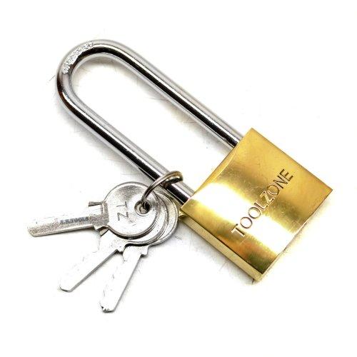 38mm Long Shackle Brass Padlock / Security / Lock with 3 Keys TE569