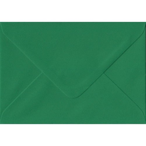 Xmas Green Gummed A5 Coloured Green Envelopes. 100gsm FSC Sustainable Paper. 152mm x 216mm. Banker Style Envelope.