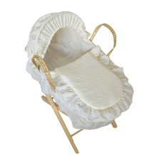 Beautiful Dolls Moses Basket Broderie Anglaise Cream