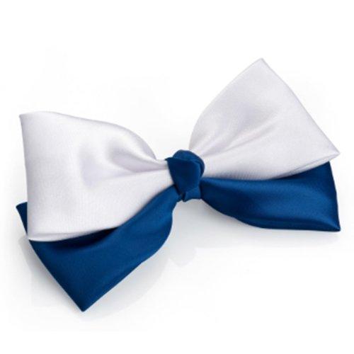 Navy White Satin Double Hair Bow on Clip