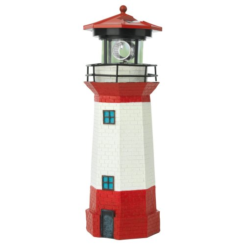 EASYmaxx 08617 LED Solar Lighthouse with Automatic 360° Rotation | Garden Decoration | LED Garden Light | House Decoration