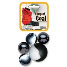 Lump of Coal Marbles Game Net Set Glass Mega Marbles Holiday Toy (25 Piece)