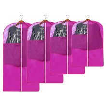 4 PCS Fashion Garment Bags Clothing Dustproof Bag Set Clothes Dust Cover Purple