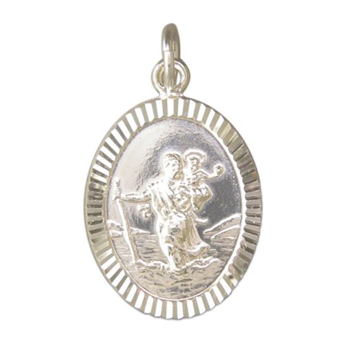 Childrens Sterling Silver Large Diamond Cut Oval St Christopher Pendant On A Curb Necklace
