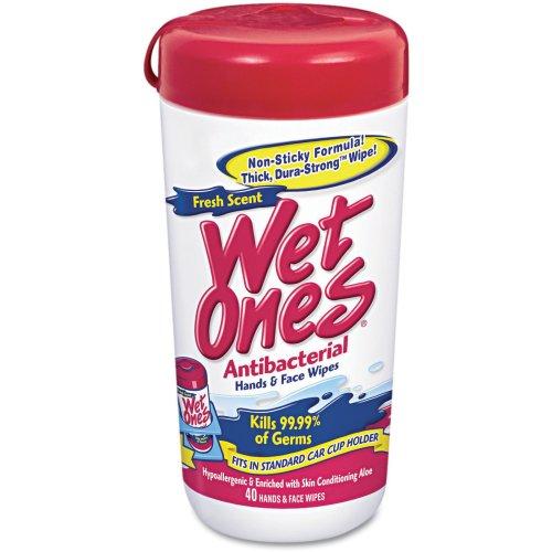 """WetOnes Antibacterial Moist Towelette 5.75""""x7.5"""" 40/Pkg-White"""