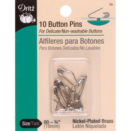 Dritz Button Pins 10/Pkg-Nickel-Plated Brass Size 00
