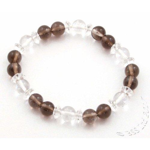 Smoky and Clear Rock Crystal Gemstone Bracelet
