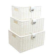 Storage Basket Box Set of 3 Resin Woven Hamper