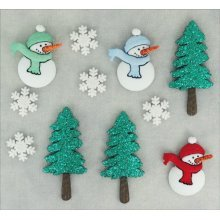 Snowmen & Trees - Cool Yule Christmas Novelty Craft Buttons & Embellishments