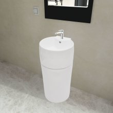 Ceramic Stand Bathroom Sink Basin Faucet/Overflow Hole White Round