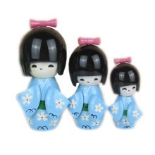 3 Pcs Lovely Japanese Kimono Girl Wooden Dolls With Cherry Blossoms, Blue