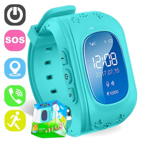 TURNMEON Smart Watch for Kids Children Smartwatch Phone with SIM Calls Anti-lost GPS Tracker SOS Voice Chat Gprs Bracelet Parent Control APP (Blue)
