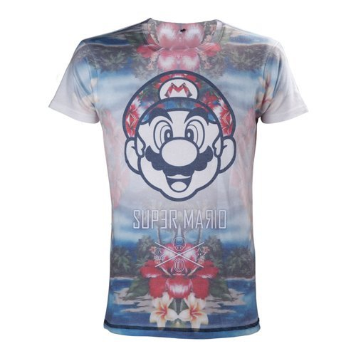Nintendo Super Mario Bros. Adult Male Tropical Mario All-Over Sublimation T-Shirt, Large, Multi-Colour (Model No. TS221304NTN-L)