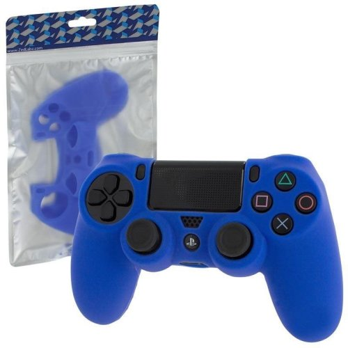 Zedlabz Pro Soft Silicone Protective Cover with Ribbed Handle Grip - Blue PS4
