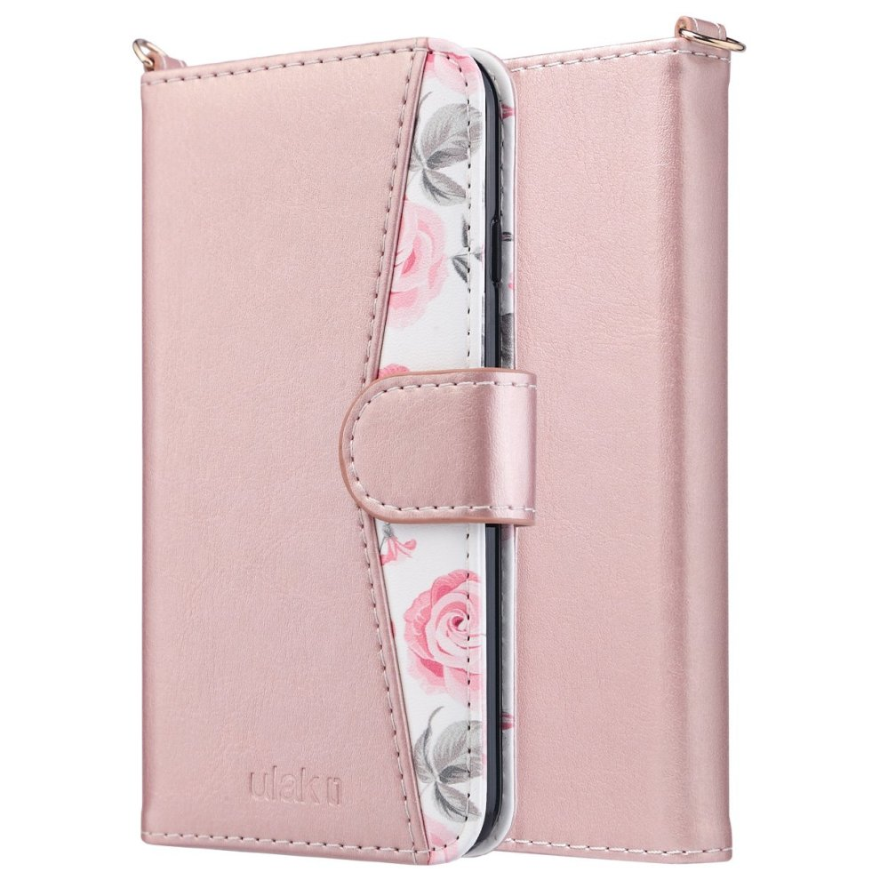 super popular bdb8d 18d44 iPhone 6s Case,iPhone 6 Case,ULAK iPhone 6s girls Wallet Case Card Holder  ID Slot Hand Strap Flip Shockproof Full Protective PU Leather Cover for...