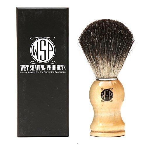 Badger Shaving Brush 100% Pure Black Badger High Density w/ Wood Handle by WSP