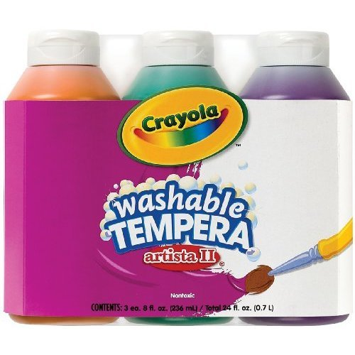 Crayola; Arista II Washable Tempera Paint; Secondary Colors (Orange, Green, Violet), Art Tools; 3 ct 8-OZ Bottles; Great for Classroom Projects