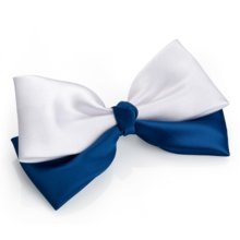 Navy White Satin Double Hair Bow on Clip