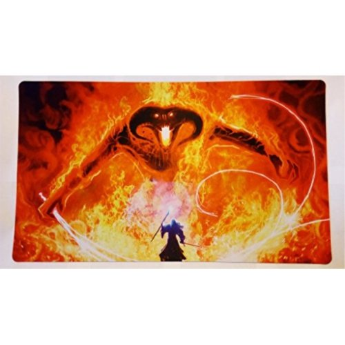 "Gandalf vs Balrog lotr Lord of the rings TCG playmat, gamemat 24"" wide 14"" tall for trading card game smooth cloth surface rubber base"