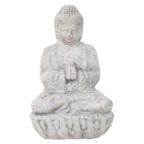 Small 17cm Grey Terracotta Sitting Buddha Statue Garden or Home Ornament