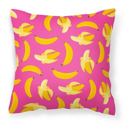 Carolines Treasures BB5140PW1818 Bananas on Pink Fabric Decorative Pillow - 18 x 3 x 18 in.