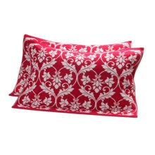 2 PCS Cotton Three Layer Thicken Pillow Towel Soft Pillow Blanket Protector Best Skin Care, Red Flower