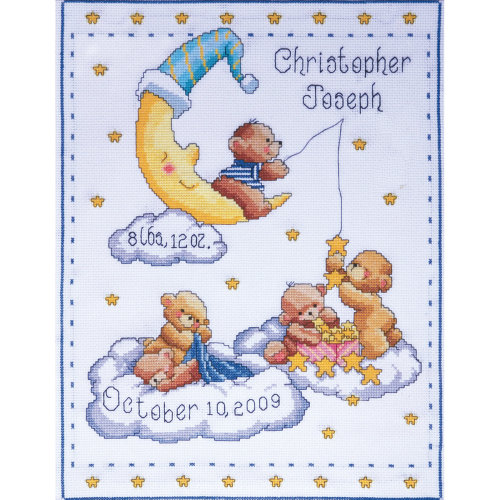 "Tobin Counted Cross Stitch Kit 11""X14""-Bears In Clouds Birth Record (14 Count)"