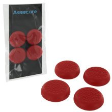 Assecure TPU protective analogue thumb grip stick caps for Sony PS4 controllers [Playstation 4] - 4 pack - red
