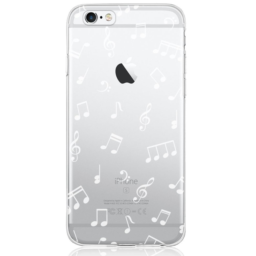 watch 60d9f e0343 iPhone 6 / 6S Case, DAPP Dolce Vita Series Slim Fit Silicone Clear Case  with Music Notes Design