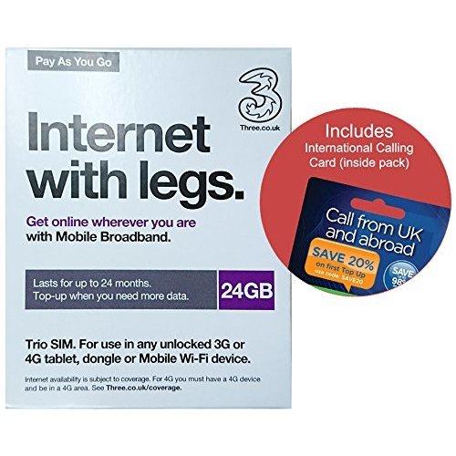 Love2surf Three UK PAYG Trio Data SIM Mobile Broadband -24GB &  International Calling Card RETAIL PACK