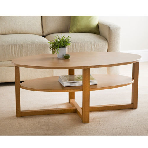 Contemporary Sturdy Oval Shaped Oak Finish Coffee Table Home Decor