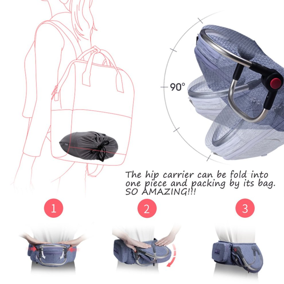 Light grey Bebamour Foldable Baby Carrier Hip Seat Ergonomic Toddler Waist Seat for 0-36 Months