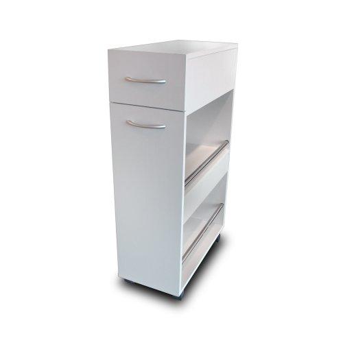 White Slimline Kitchen Storage Trolley Island Single Drawer Shelves