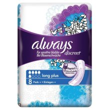Always Discreet Sensitive Bladder Incontinence Pads Long Plus Pad Thin Pack of 8