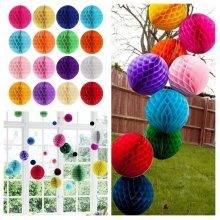 10'' Tissue Paper Pom Poms Honeycomb Ball Lantern Wedding Party Home Table Decor