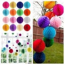 10'' Tissue Paper Pom Poms Honeycomb Ball Lantern Wedding Party Home Table Decor