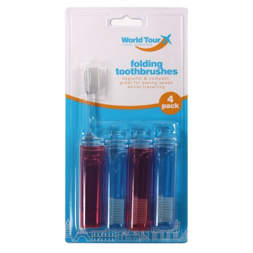 Folding Travel Toothbrushes 4 Pack Toothbrush Holiday Red Blue